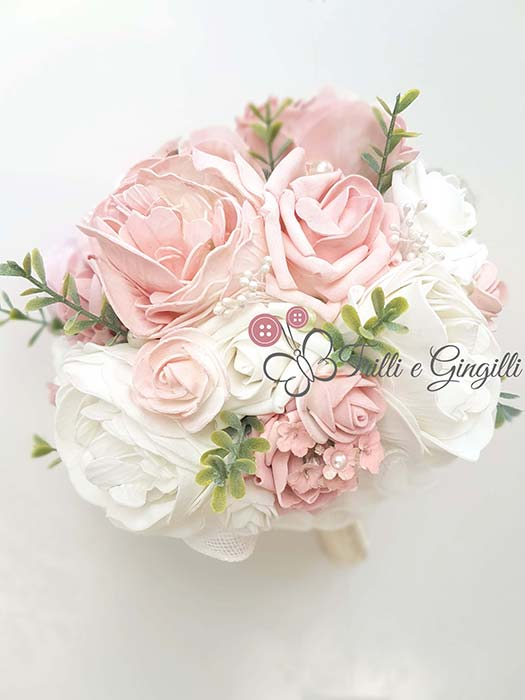 bouquet boho chic rose bianco rosa