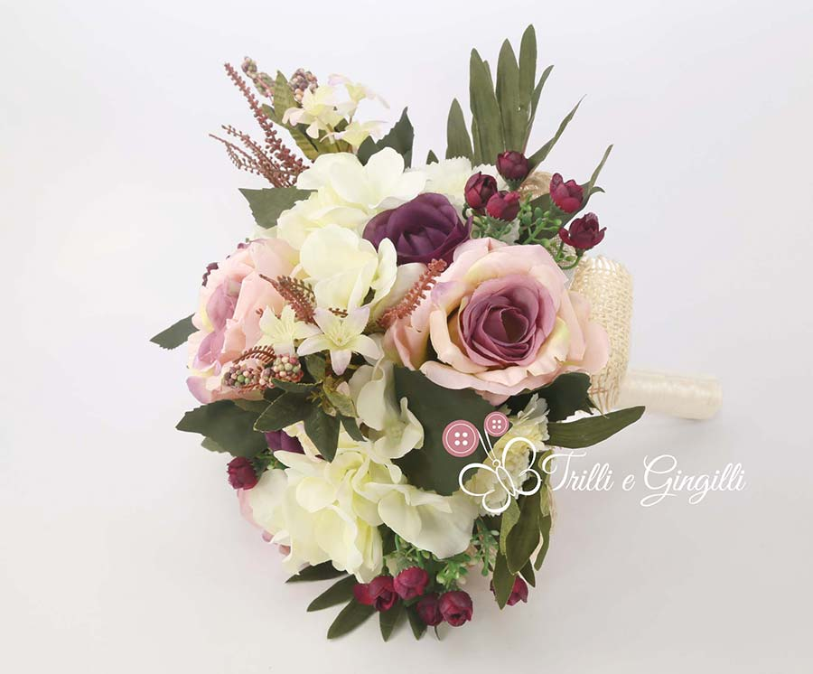 bouquet boho chic viola bianco verde