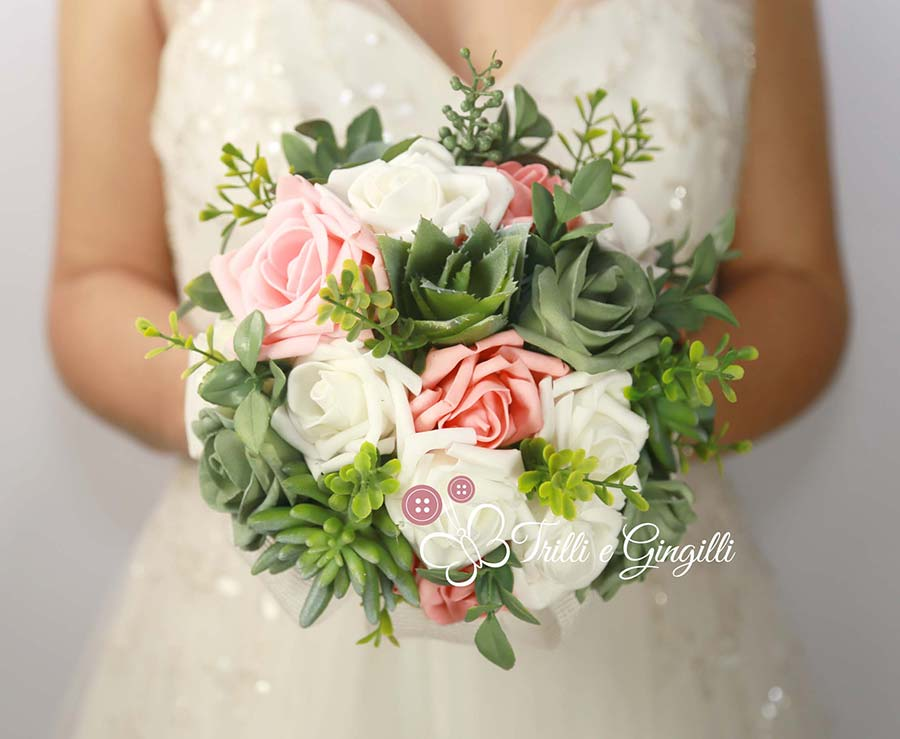 bouquet promessa matrimonio verde piante grasse