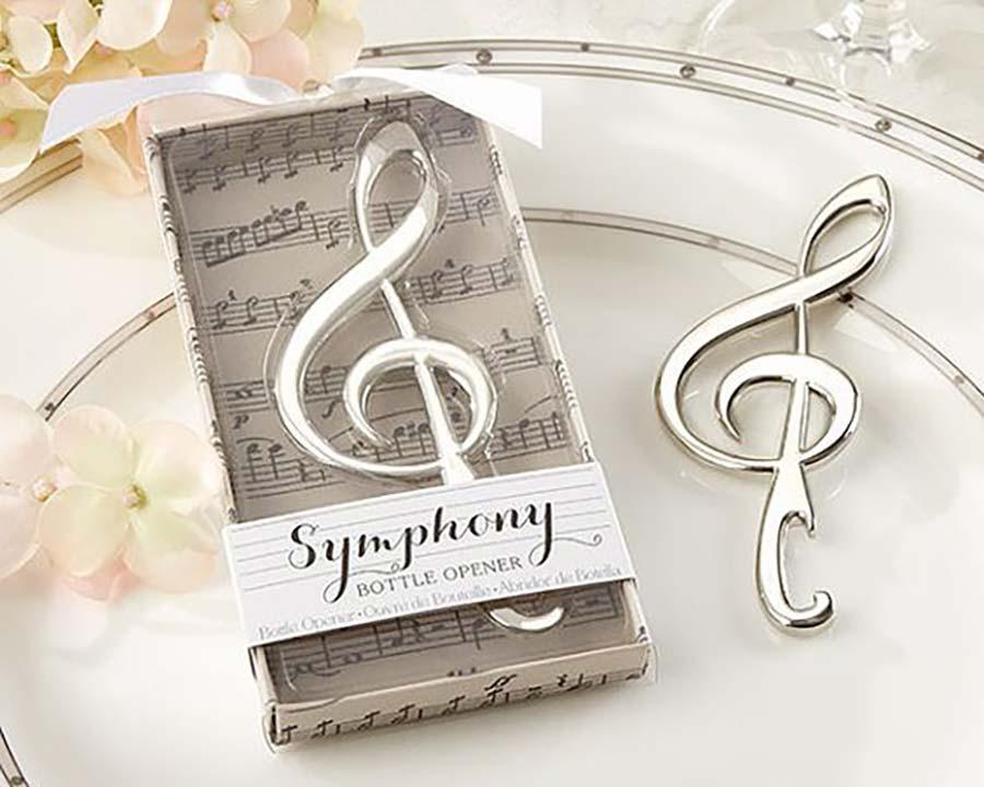 Bomboniere matrimonio a tema musica con cavatappi a forma di chiave di violino