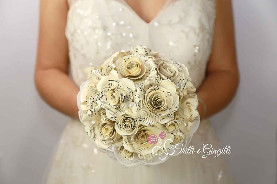 matrimonio tema musica bouquet sposa