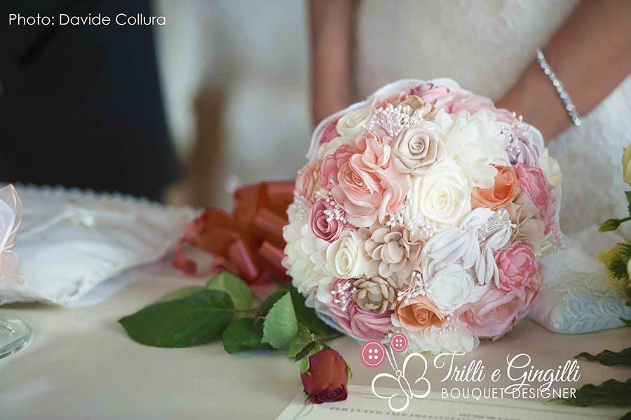 bouquet sposa con fiori di seta