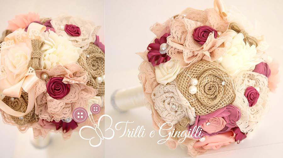 bouquet sposa tessuto seta