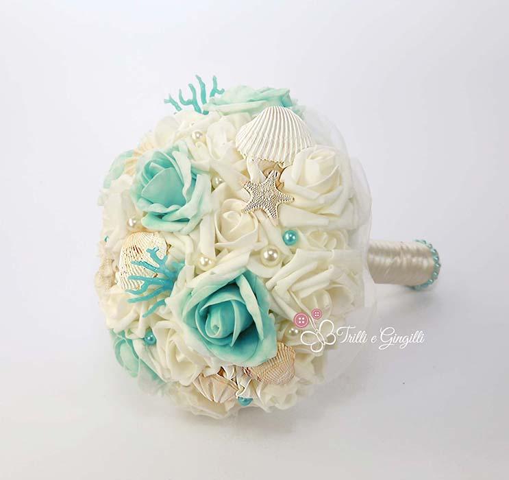 bouquet sposa azzurro tiffany a tema mare