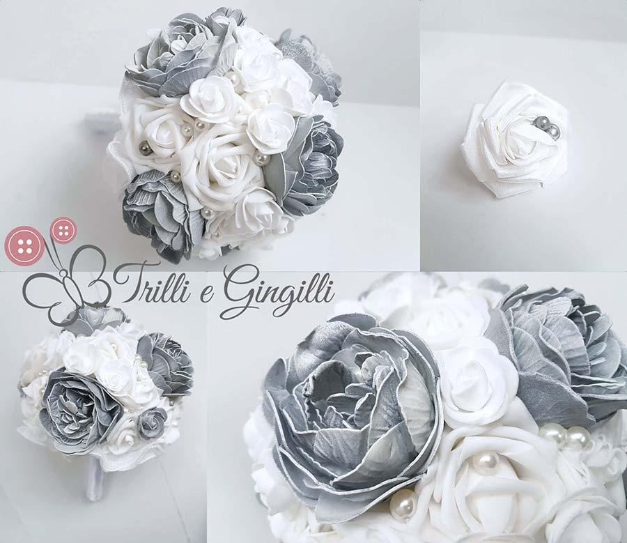 bouquet sposa inverno grigio bianco