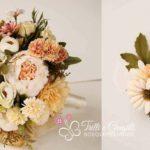 bouquet fiori di seta con bottoniera