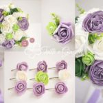 bouquet peonie lilla e verde