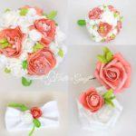 bouquet peonie rose rosso corallo verde mela