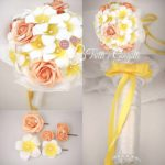 bouquet rose frangipani accessori coordinati