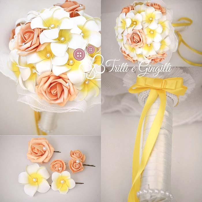 bouquet rose frangipani accessori coordinati