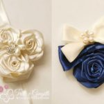 bouquet rose raso gioiello corsage