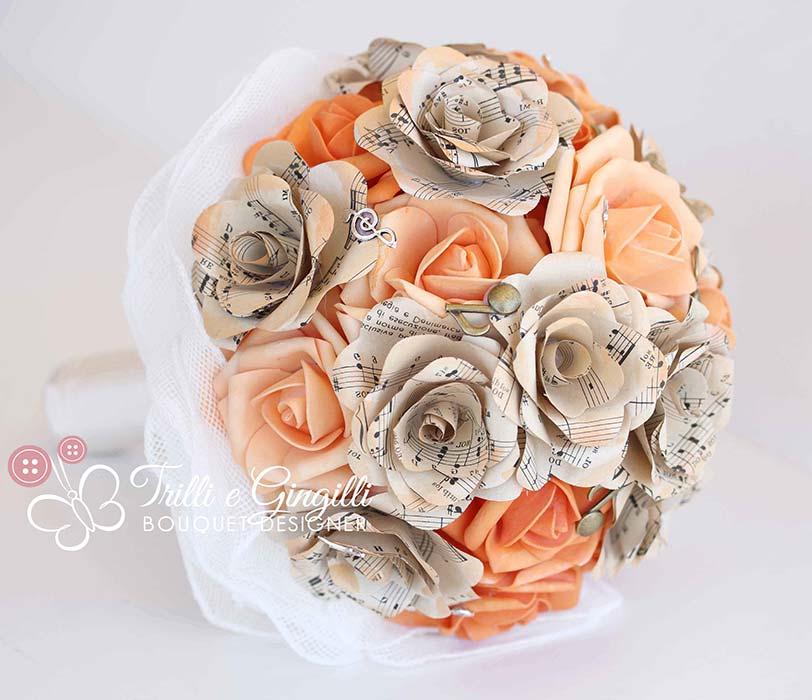 bouquet sposa carta arancione