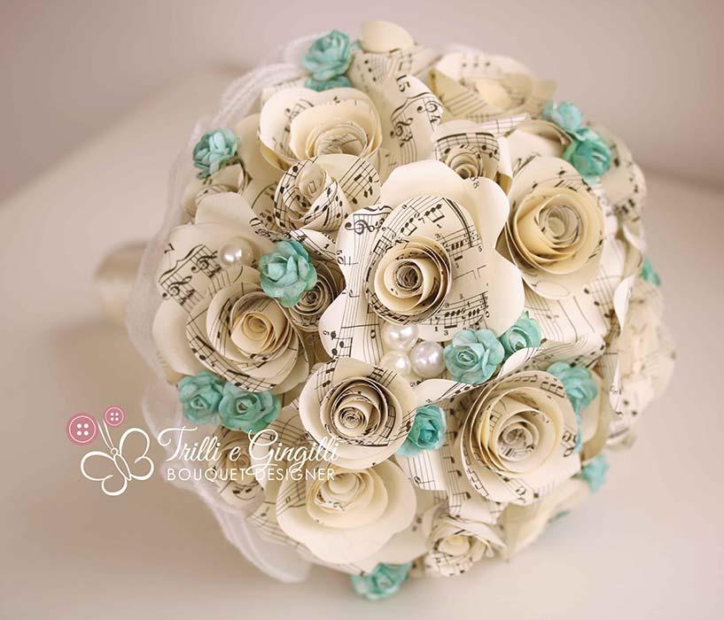bouquet sposa carta spartiti musicali tiffany