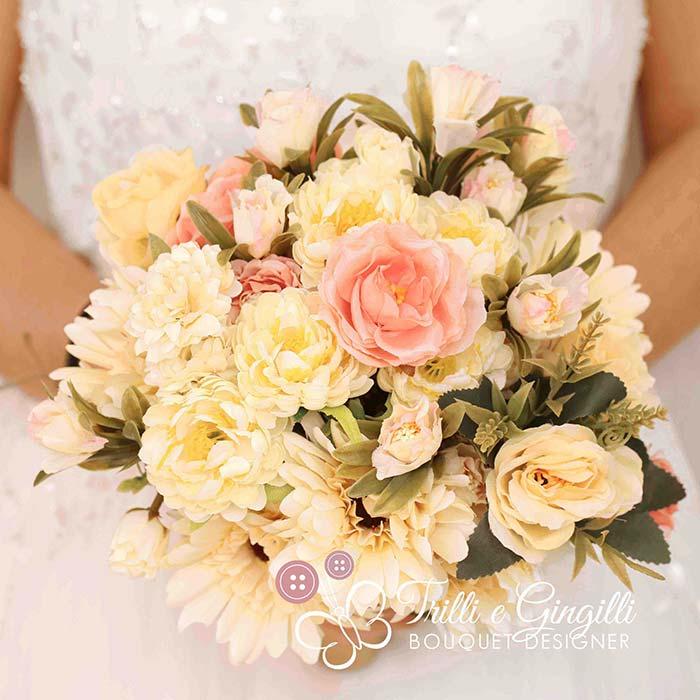 bouquet sposa fiori finti rosa