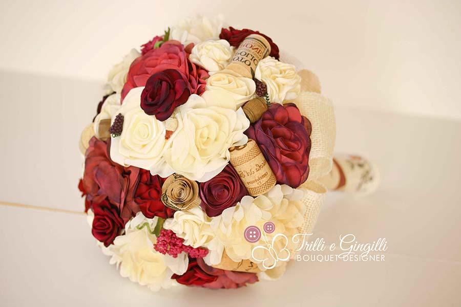 bouquet sposa tessuto tema vino