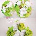 bouquet tessuto verde bottoniere bouquet lancio