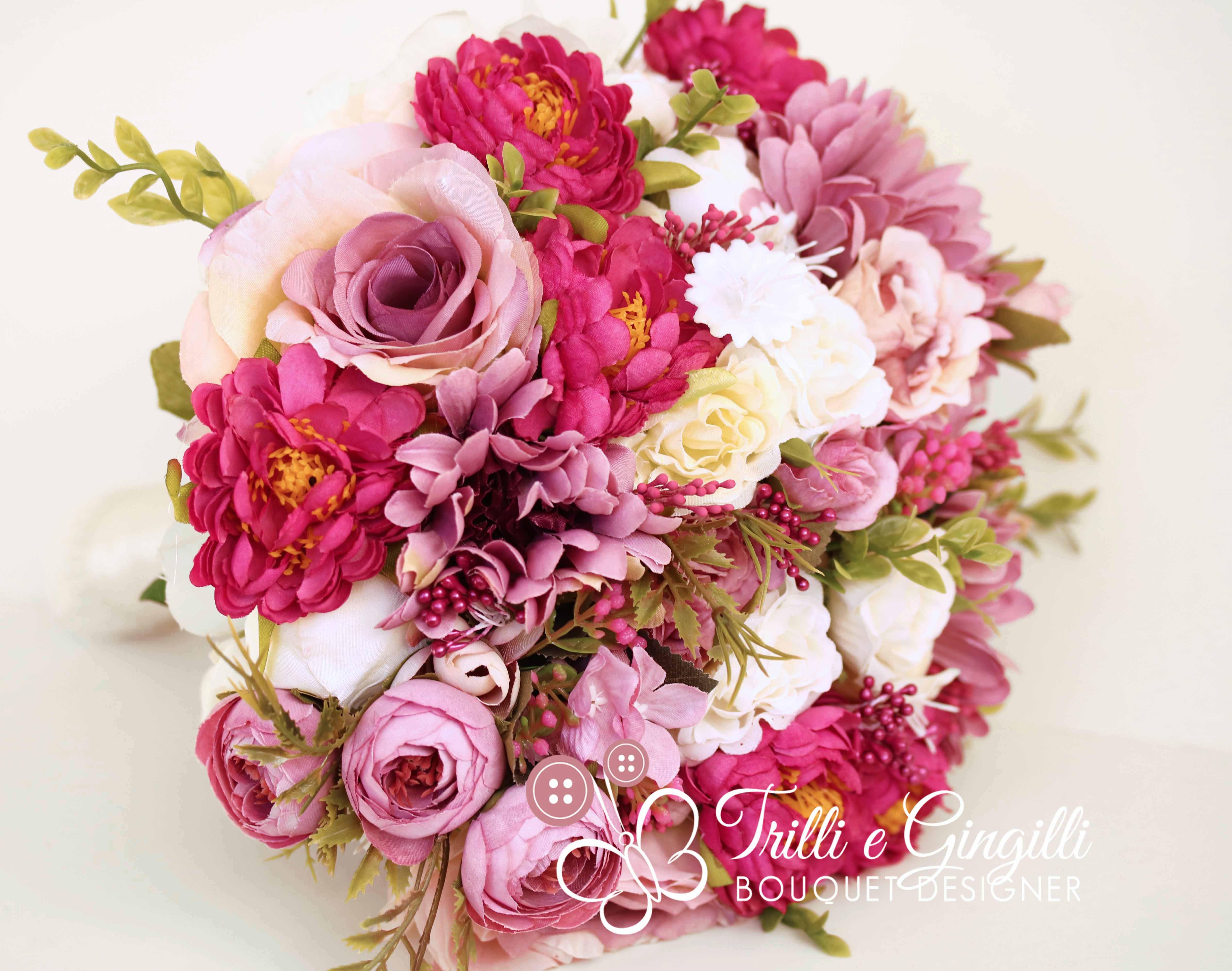 Bouquet Sposa Fucsia.Bouquet Boho Real Life Fucsia Con Perline