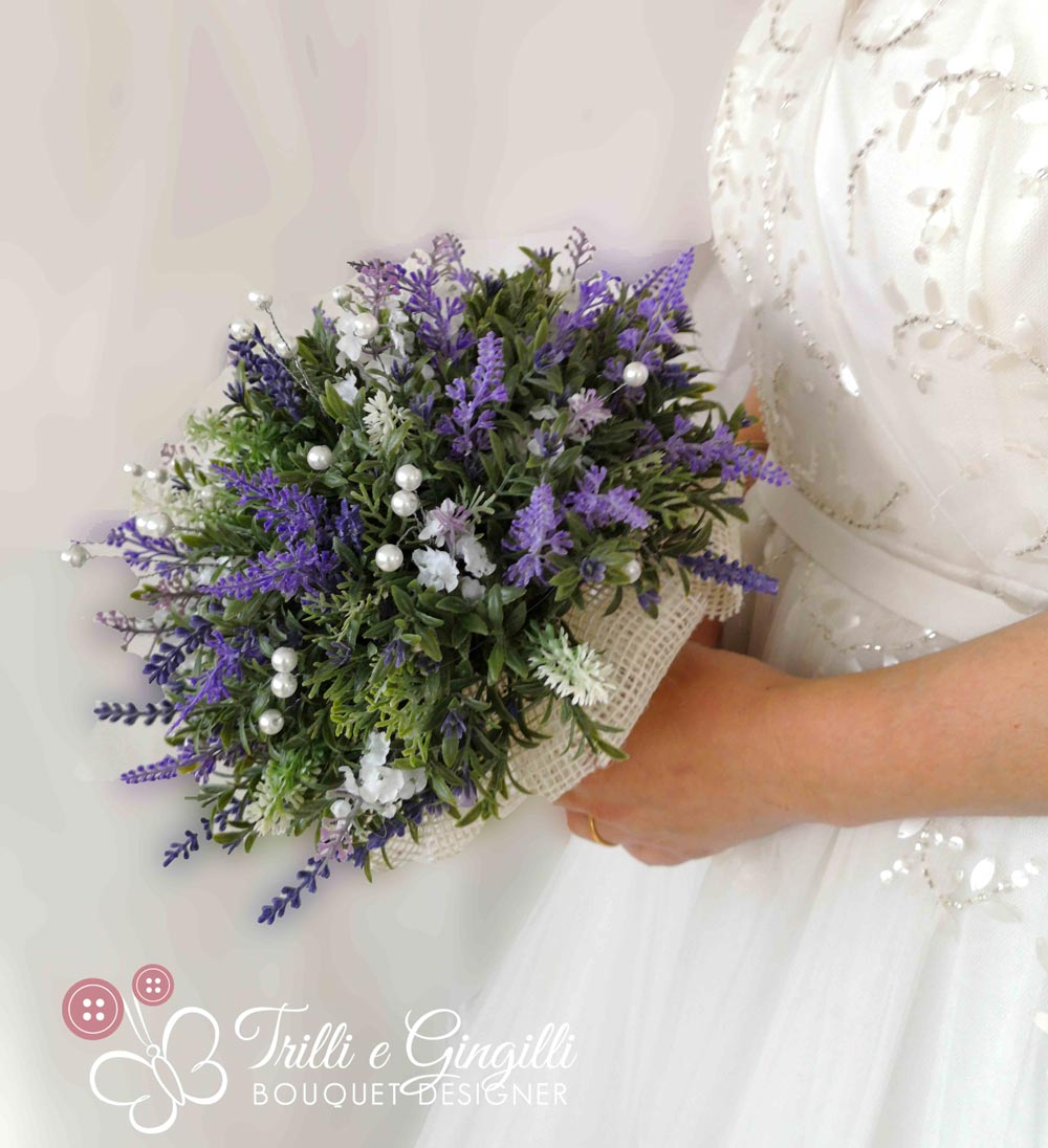 Bouquet Sposa Lavanda.Bouquet Boho Real Life Con Lavanda E Perle