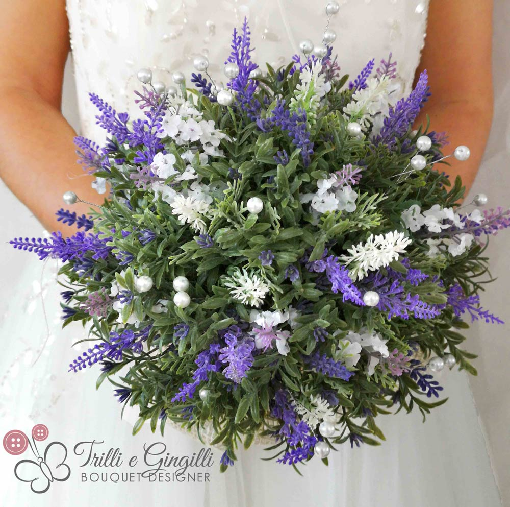 Bouquet Lavanda Sposa.Bouquet Real Life Con Lavanda E Perle Trilli E Gingilli