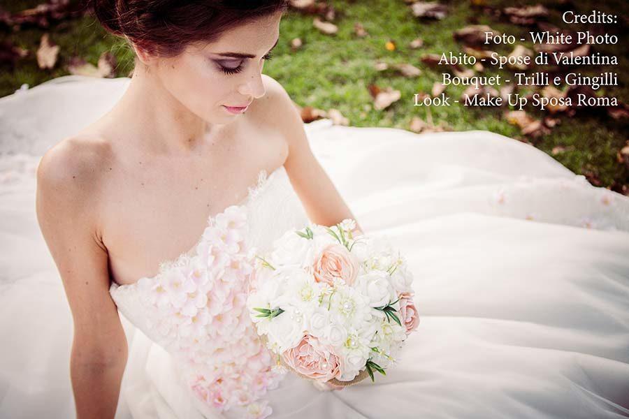 abito da sposa bianco e rosa cipria