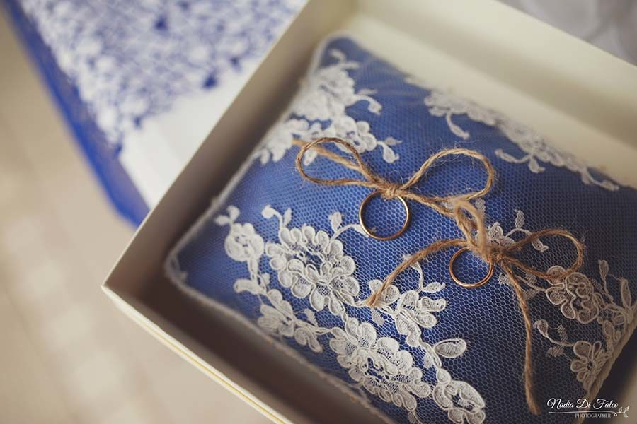 cuscino portafedi country chic blu