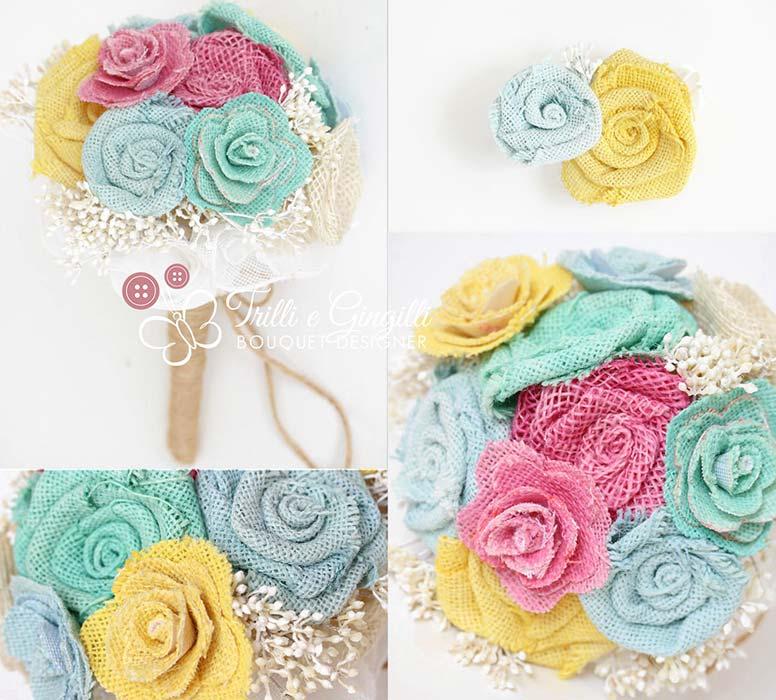 Foto di bouquet country chic con rose colorate di juta