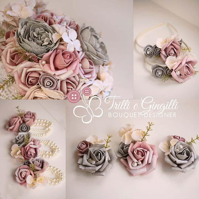 bouquet vintage con bottoniere e bracciali damigelle coordinati