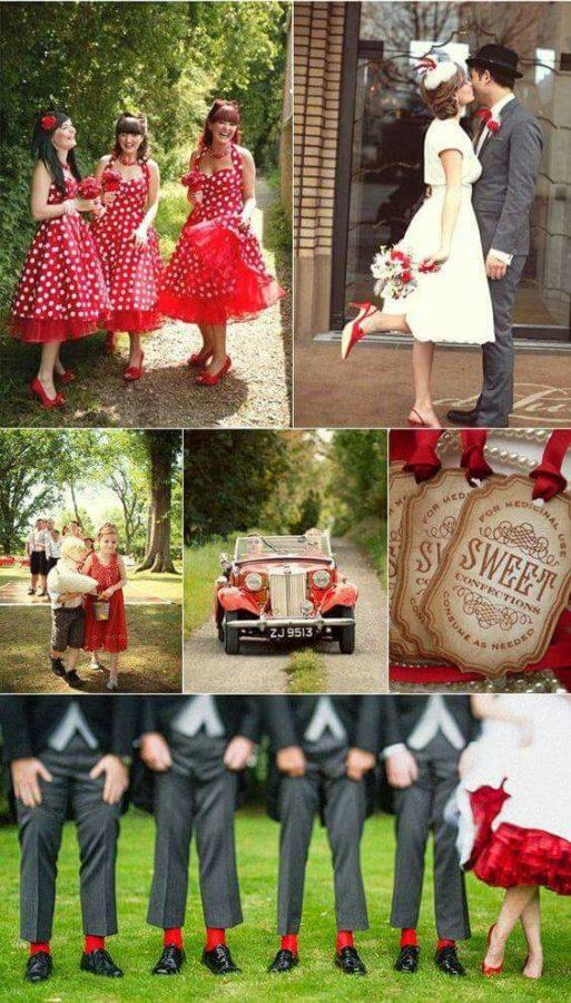 matrimonio anni 50 rosso