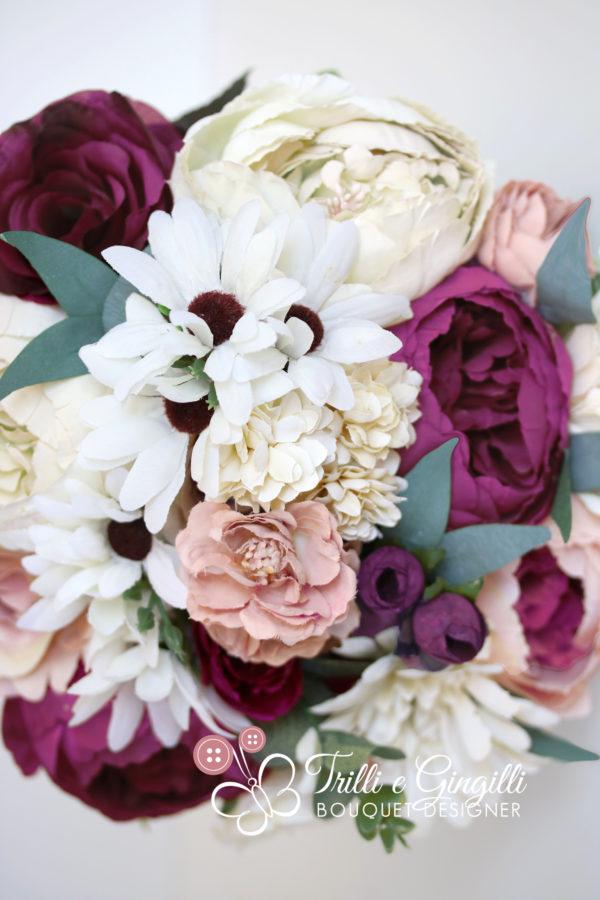 bouquet peonie gerbere e ulivo