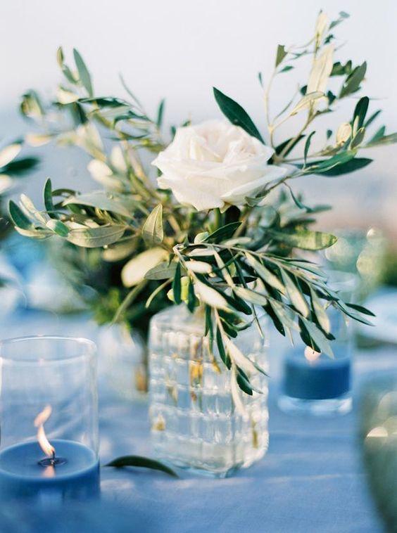centrotavola nozze tema ulivo