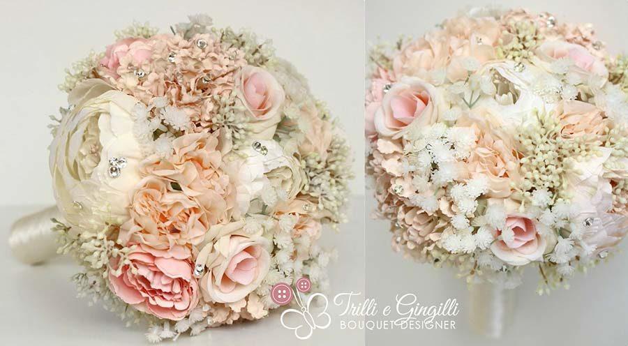 bouquet di fiori gypsophilia e strass