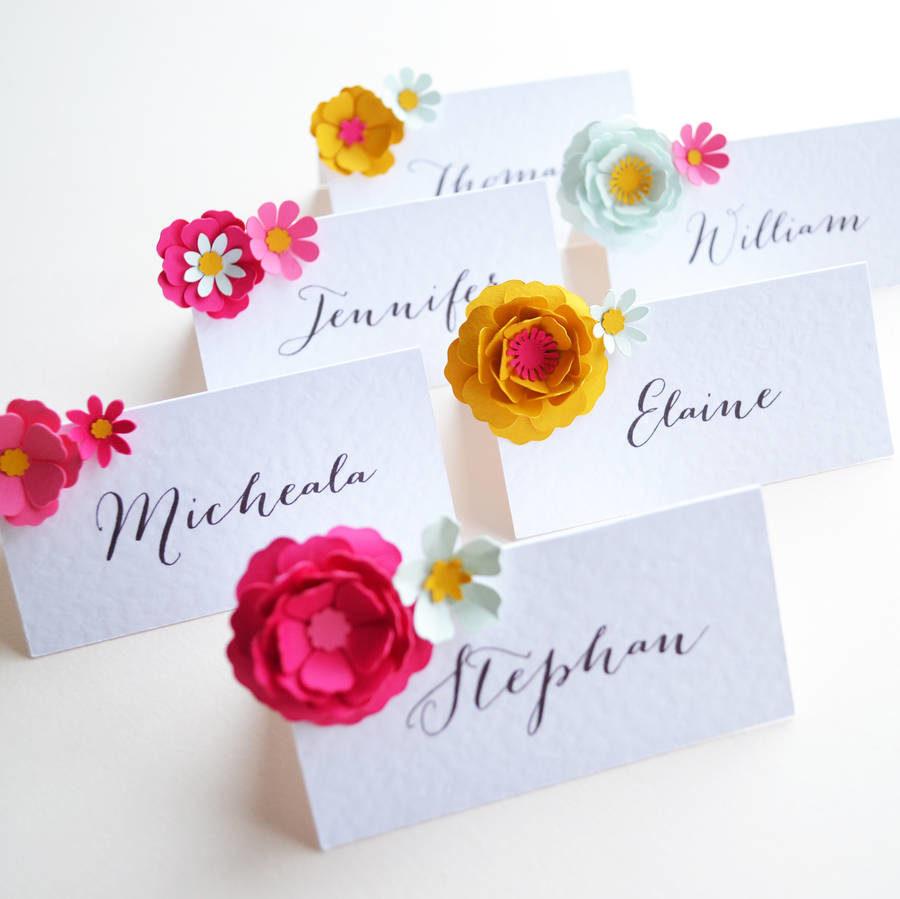 matrimonio tema fiori segnaposto