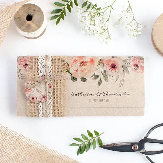 partecipazioni matrimonio tema fiori shabby chic vintage