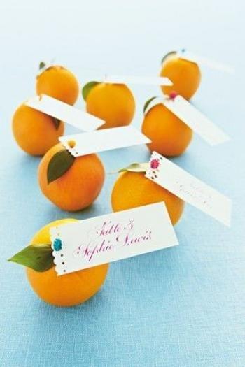 segnaposto matrimonio tema sicilia arance