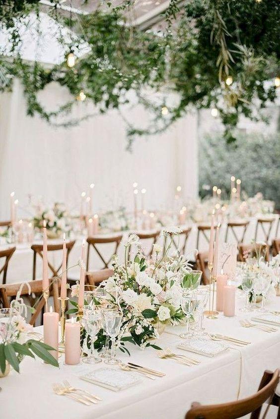 allestimenti nozze rosa cipria e verde