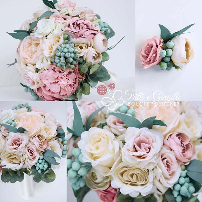 bouquet rosa antico e cipria