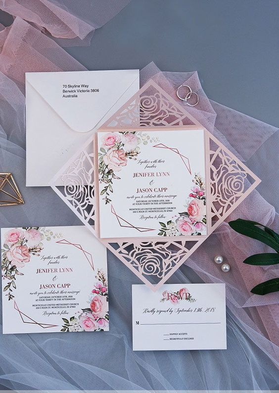 inviti matrimonio rosa antico