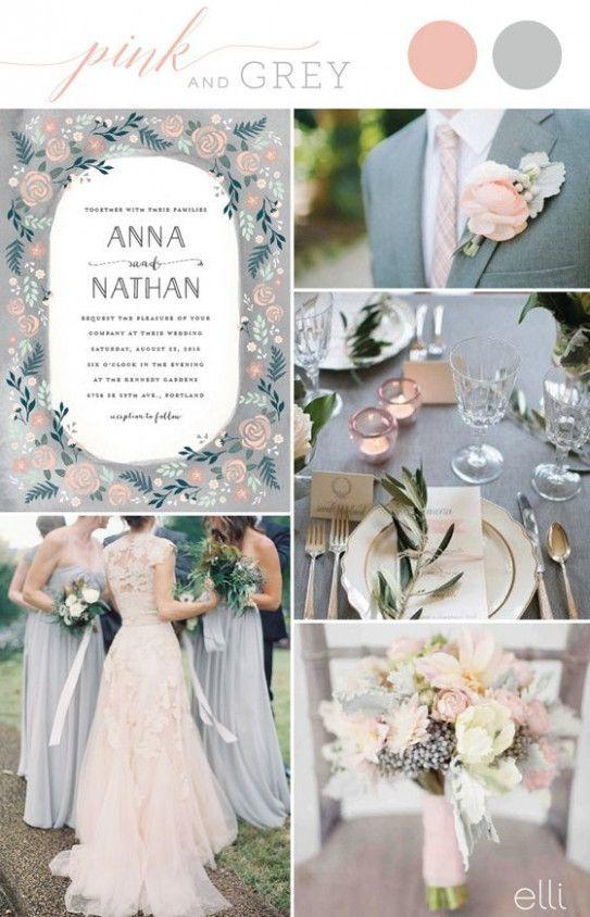 palette matrimonio rosa antico e argento