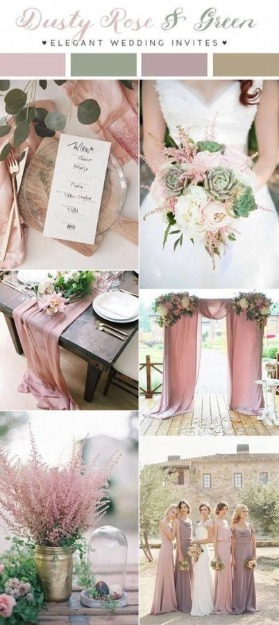 palette matrimonio rosa antico e verde