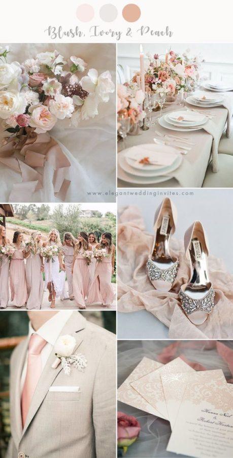 palette matrimonio rosa cipria e avorio