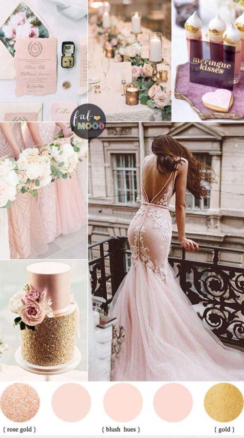 palette matrimonio rosa cipria e oro