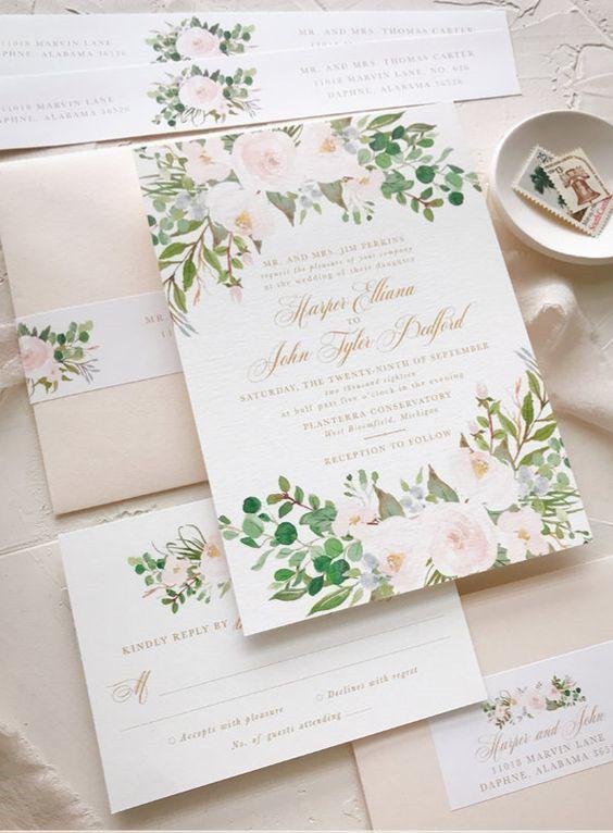 partecipazioni matrimonio rosa cipria con fiori