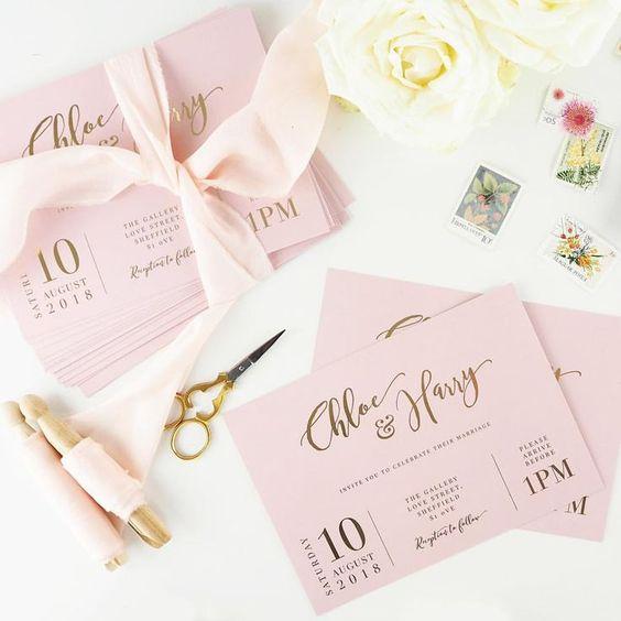 partecipazioni matrimonio rosa cipria e oro