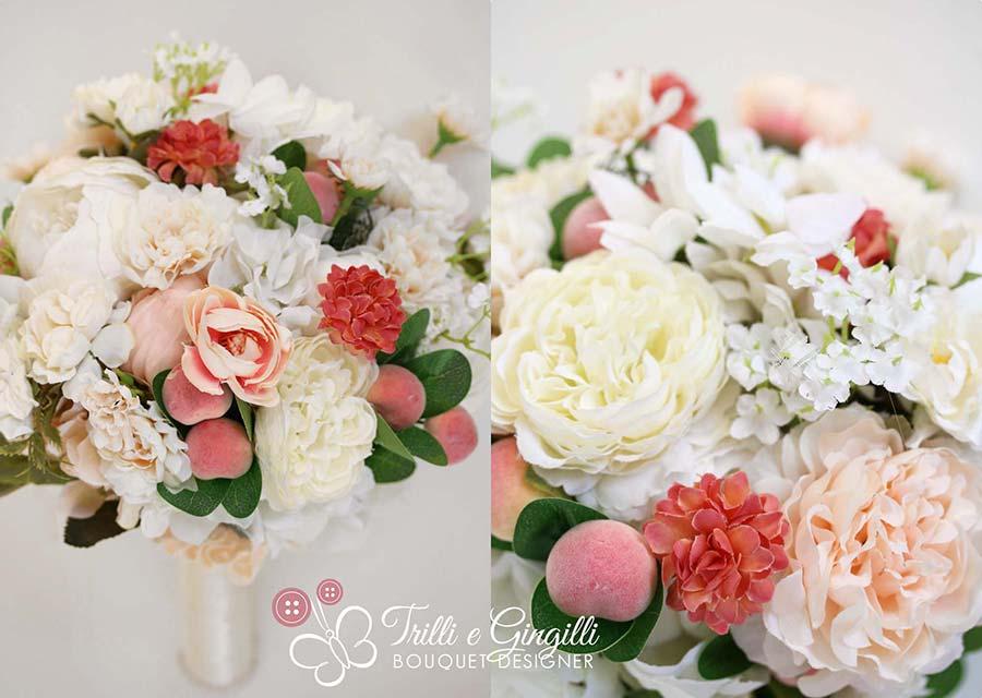 bouquet sposa per matrimonio a tema frutta con pesche