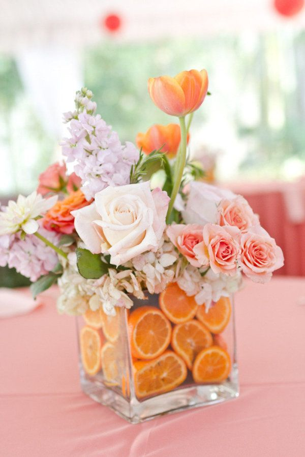 centrotavola per matrimonio a tema frutta con arance