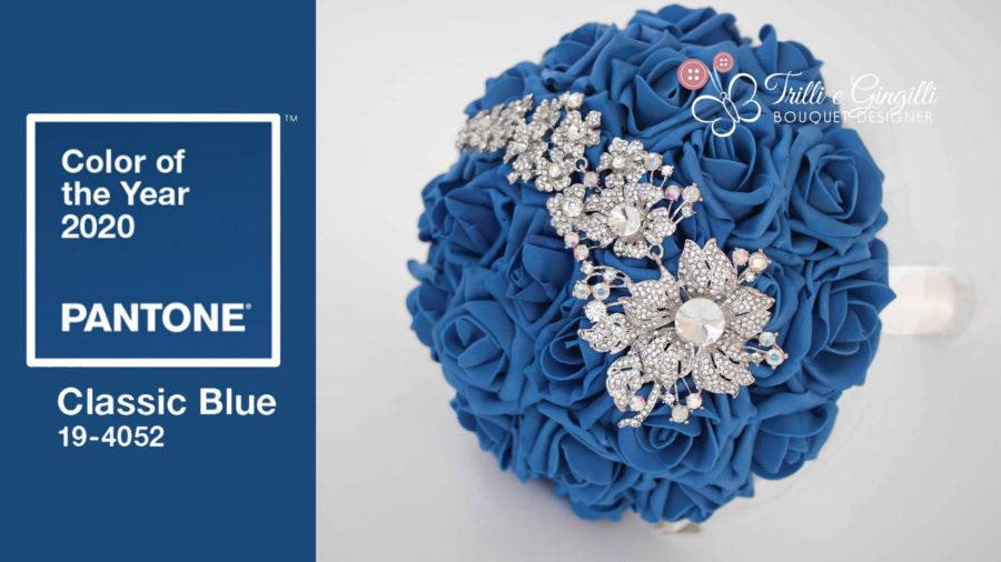 pantone 2020 classic blue bouquet sposa