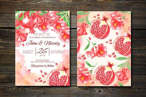 partecipazioni per matrimonio a tema frutta con melograno