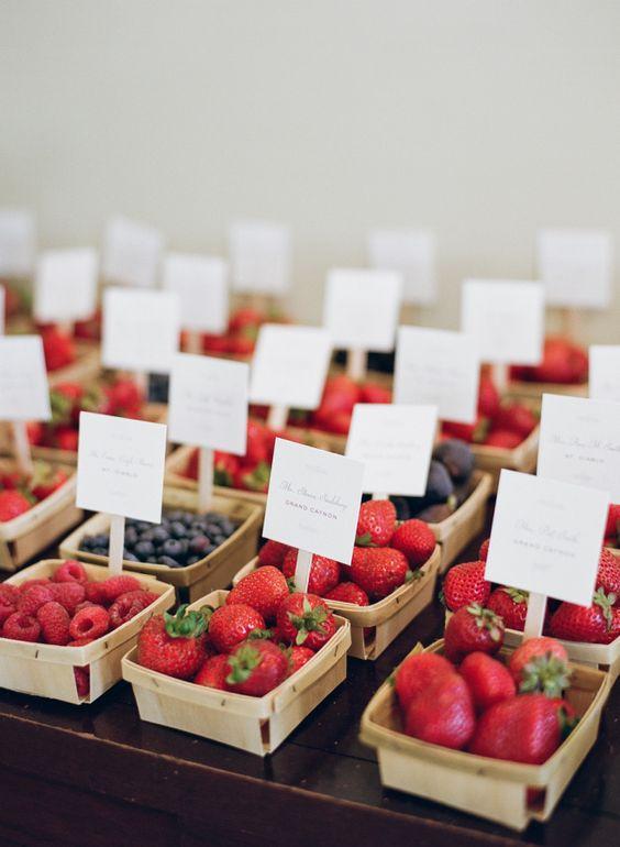 tableau matrimonio a tema frutta con cestini di frutti di bosco