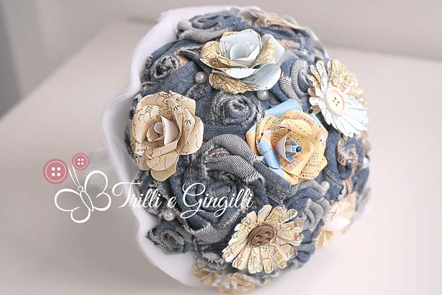 bouquet sposa jeans tema viaggio