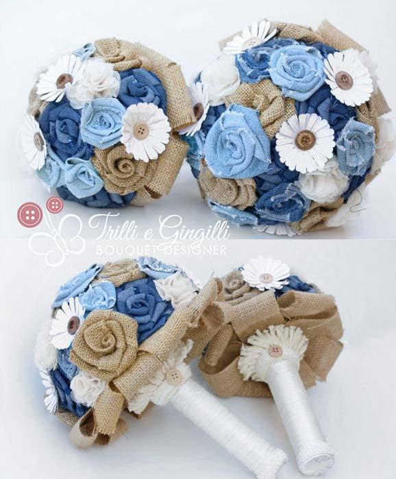 bouquet sposa e bouquet da lancio in jeans